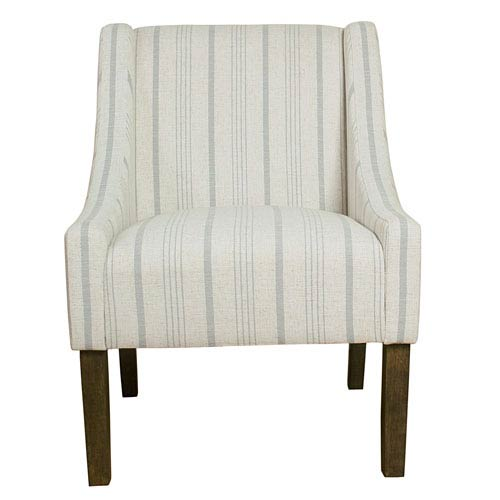 Modern Swoop Accent Chair - Dove Grey Stripe