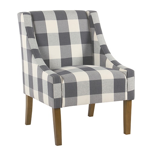 Modern Swoop Blue Plaid Accent Chair