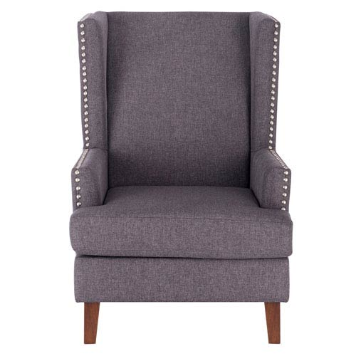 Meadow Lane Tamarisk Wingback Accent Chair With Nailhead Trim Gray