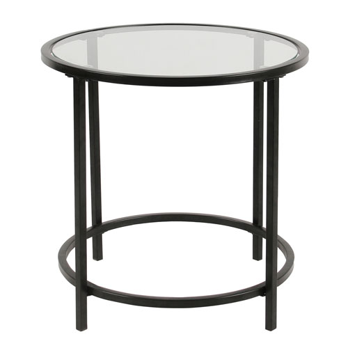 Round metal accent tablewith glass top