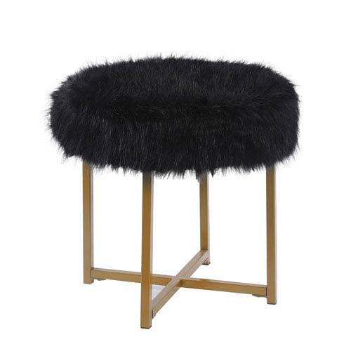 Faux Fur Round Ottoman - Black