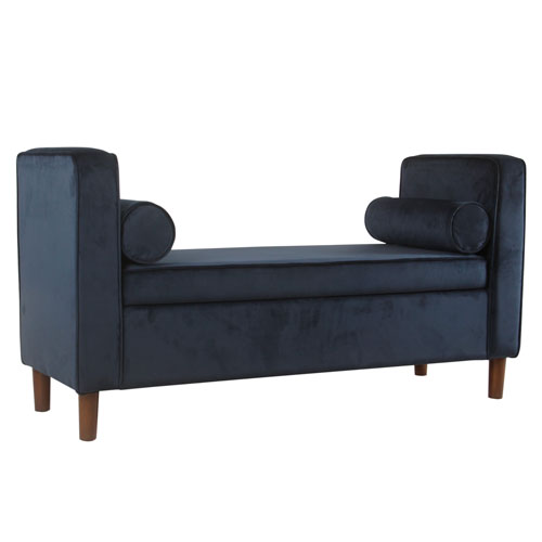 Velvet Storage Bench - Dark Navy