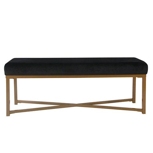 Velvet Rectangle Bench - Black