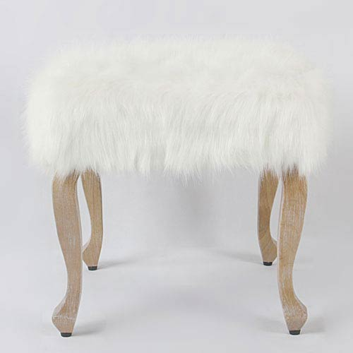 Faux Fur Ottoman with Wood Legs - White
