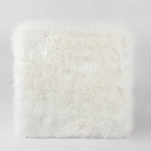 Meadow Lane Faux Fur Ottoman With Wood Legs White K7501