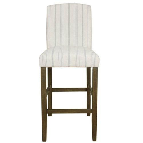Meadow Lane Classic Parsons High Back Barstool - Dove Grey Stripe