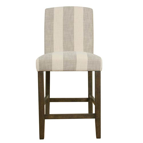 Meadow Lane Curved Back Counter Stool Grey Stripe