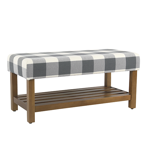 Decorative Blue Plaid Bench with Wooden Storage
