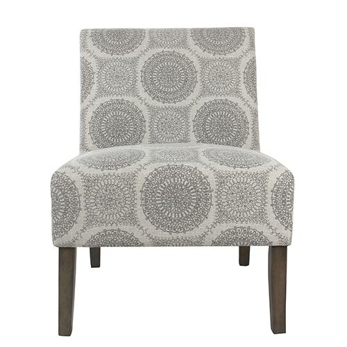 Armless Accent Chair - Grey Medallion