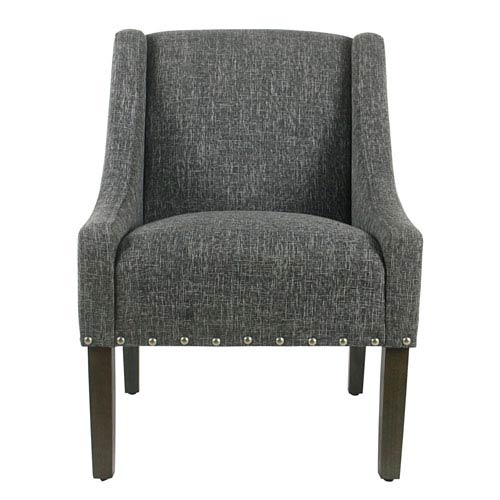 Meadow Lane Modern Swoop Accent Chair With Nailhead Trim Slate Grey