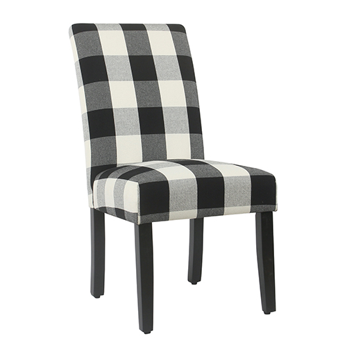 Black Plaid Parsons Dining Chair - Set of 2