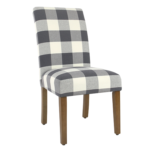 Meadow Lane Blue Plaid Parsons Dining Chair - Set of 2