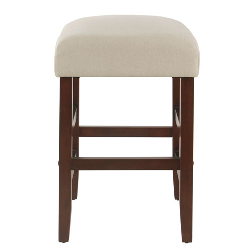 24 Inch Backless Counter stool - Stain Resistant Cream Fabric
