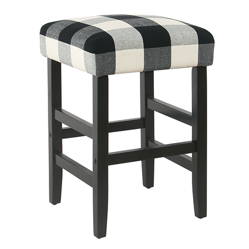 Square Black Plaid Counter Stool
