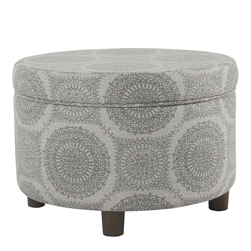 Gray Medallion Storage Ottoman