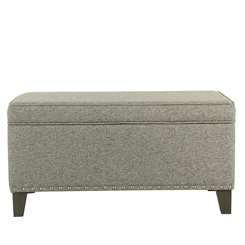 Meadow Lane Large Sterling Gray Storage Bench with Nailhead Trim
