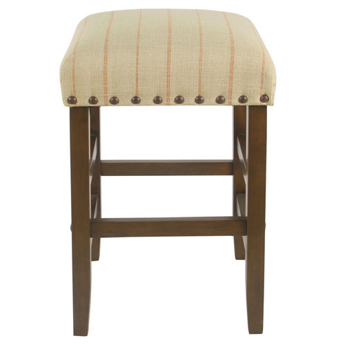 24 Inch Backless Counter stool with nailheads - Cream with Red Stripe