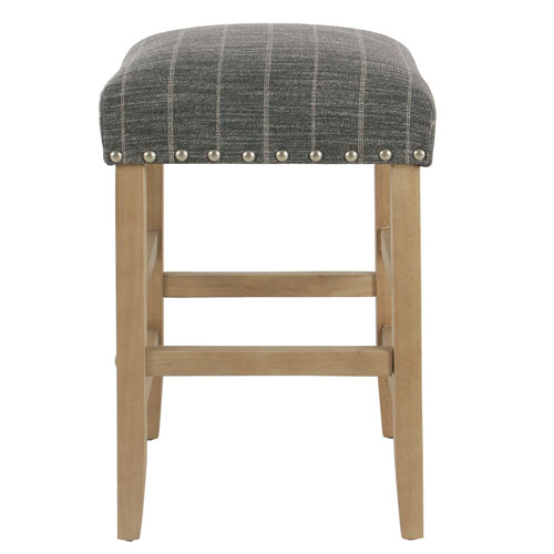 24 Inch Backless Counter stool with nailheads - Navy with Gray Stripe