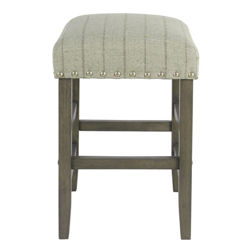 24 Inch Backless Counter stool with nailheads - Gray with Brown Stripe