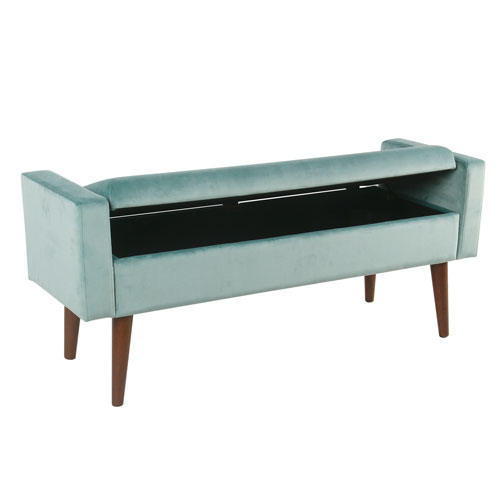 Meadow Lane Velvet Storage Bench - Aqua Blue