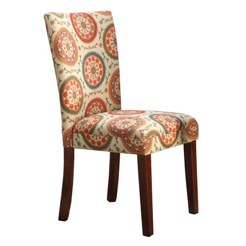 Meadow Lane Parsons Chair, Multi Color Woven Pattern, Set of Two