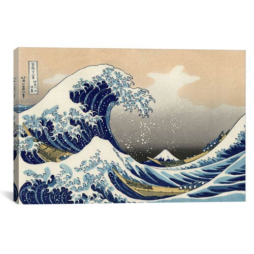 iCanvas The Great Wave at Kanagawa, 1829 by Katsushika Hokusai: 26 x 18-Inch Canvas Print