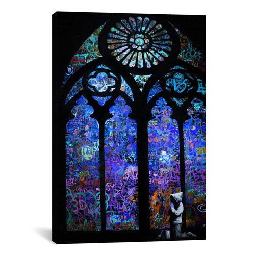 iCanvas Stained Glass Window II by Banksy: 18 x 26-Inch Canvas Print