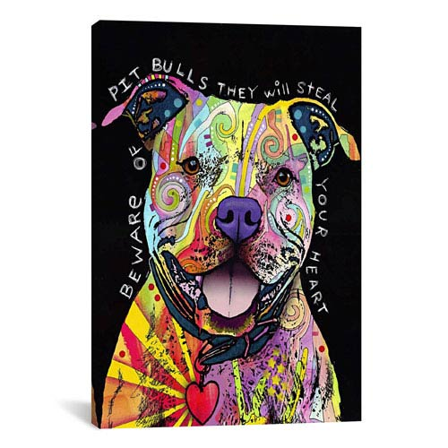 iCanvas Beware of Pit Bulls by Dean Russo: 18 x 26-Inch Canvas Print