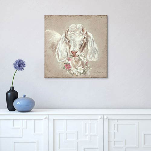 iCanvas Goat With Wreath by Debi Coules: 26 x 26-Inch Canvas Print