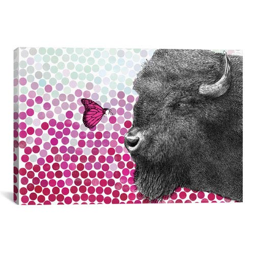 iCanvas New Friends Series, Bison and Butterfly II by Eric Fan: 40 x 26-Inch Canvas Print
