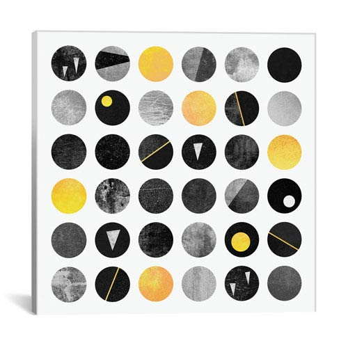 iCanvas Black And Yellow Dots by Elisabeth Fredriksson: 18 x 18-Inch Canvas Print
