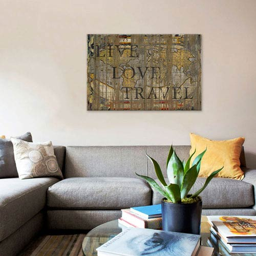 iCanvas Live Love Travel by Diego Tirigall: 40 x 26-Inch Canvas Print