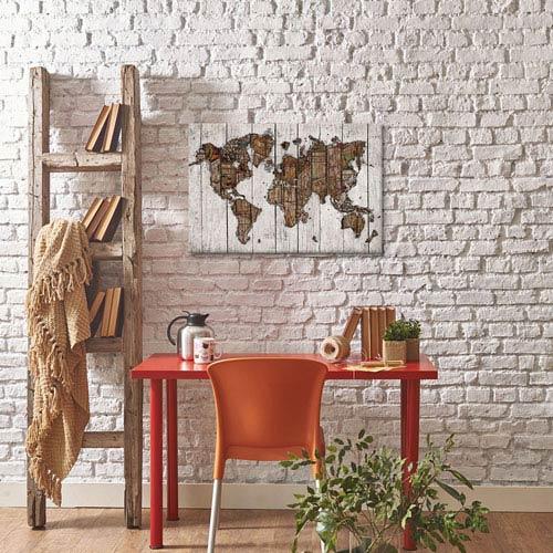 iCanvas Wood Map by Diego Tirigall: 40 x 26-Inch Canvas Print