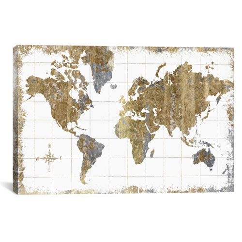 iCanvas Gilded Map by All That Glitters: 26 x 18-Inch Canvas Print