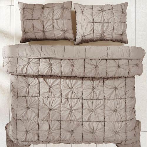 Camille Taupe Three-Piece Queen Quilt Set