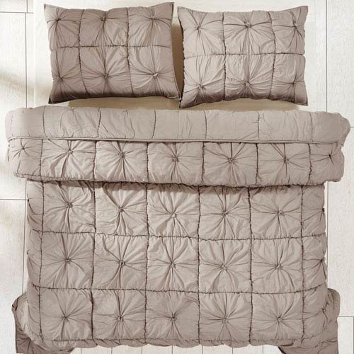 Camille Taupe Two-Piece Twin Quilt Set