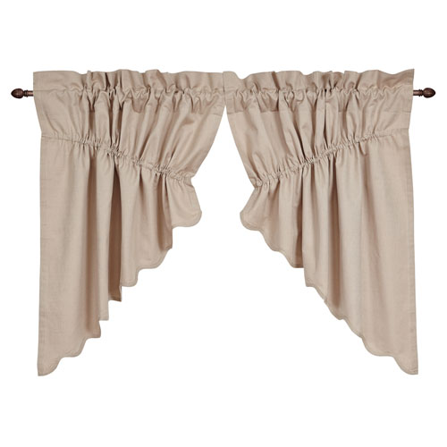 Charlotte Solid Natural Scalloped Prairie Swag Set 36 x 36 x 18