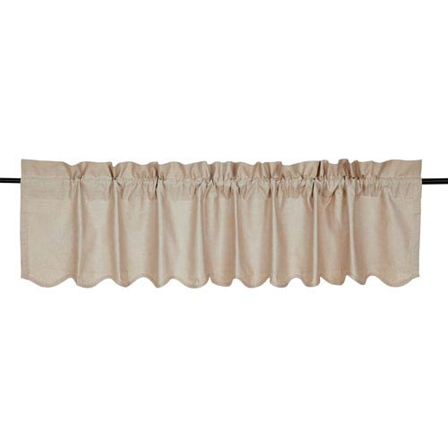 Charlotte Solid Natural Scalloped Valance 16 x 7 Two