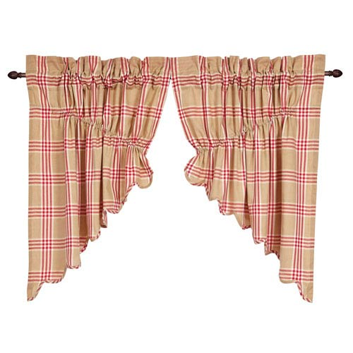 Elaine Rouge Scalloped Prairie Swag Set of  Two  36 x 36 x 18