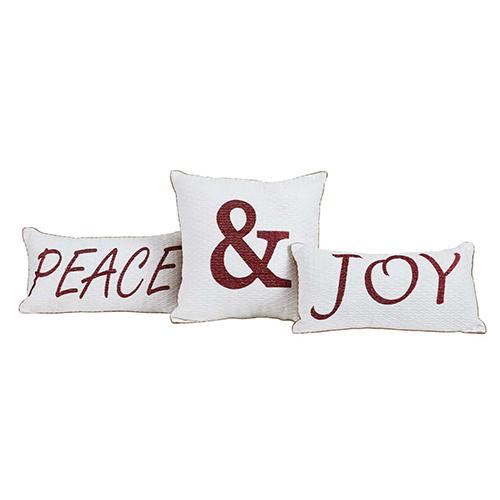 Vintage Stripe Peace and Joy Pillow, Set of 3