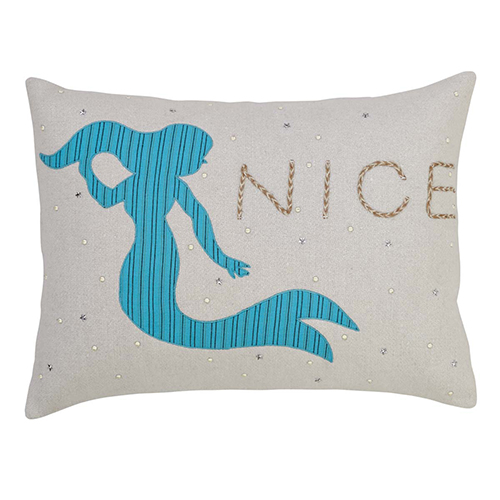 Nerine Blue and Tan Mermaid Pillow