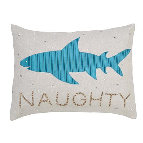 Nerine Blue and Tan Shark Pillow