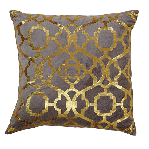 Grey and Gold Foil 18 In. Pillow