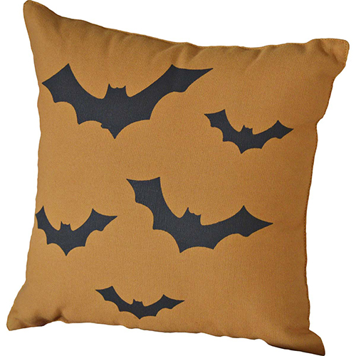 Orange Halloween Bats Pillow