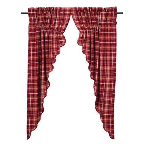 VHC Brands Braxton Apple Red 63 x 36 x 18-Inch Prairie Curtain, Set of Two