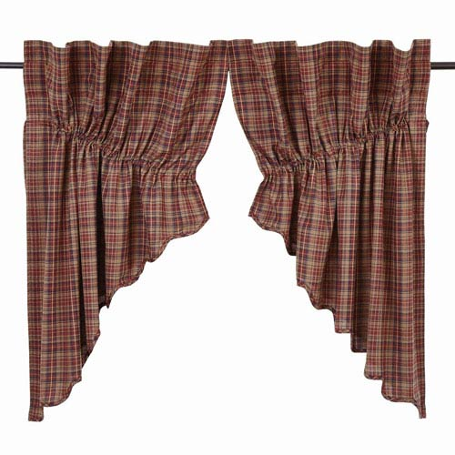 VHC Brands Parker Burgundy 36 x 36 x 18-Inch Prairie Swag, Set of Two