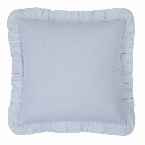 VHC Brands Morgan Baby Blue 18 x 18-Inch Accent Pillow with Down Filling
