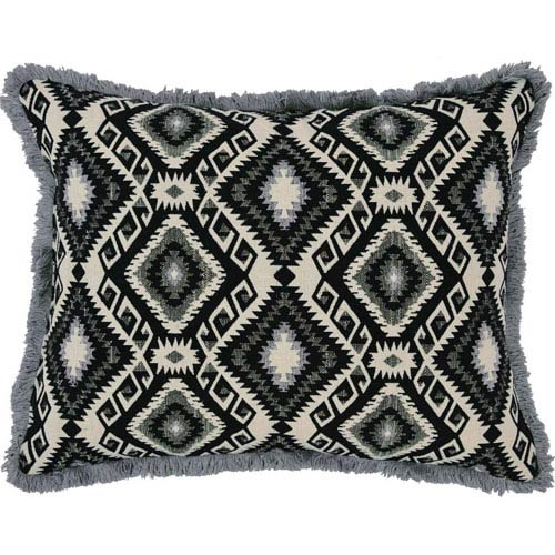 Riley Jacquard Caviar 14 x 18-Inch Accent Pillow with Polyester Filling