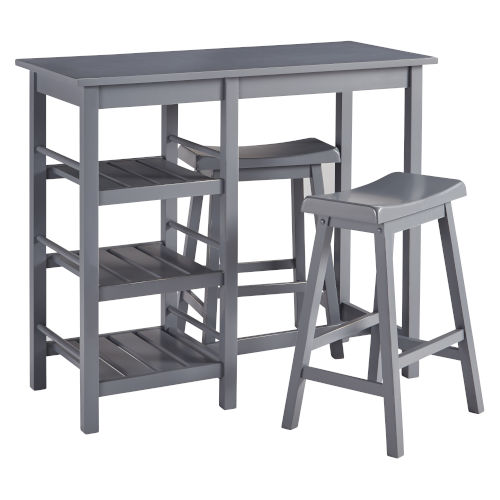 Breakfast Club Gray Counter Height Table with Two Counter Stools, 3-Piece
