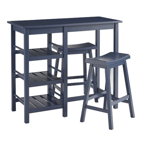 Breakfast Club Slate Blue Counter Height Table with Two Counter Stools, 3-Piece